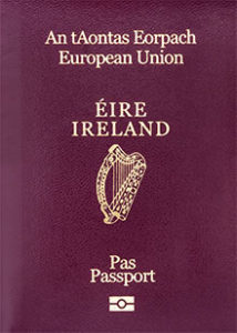 Image of an Irish passport